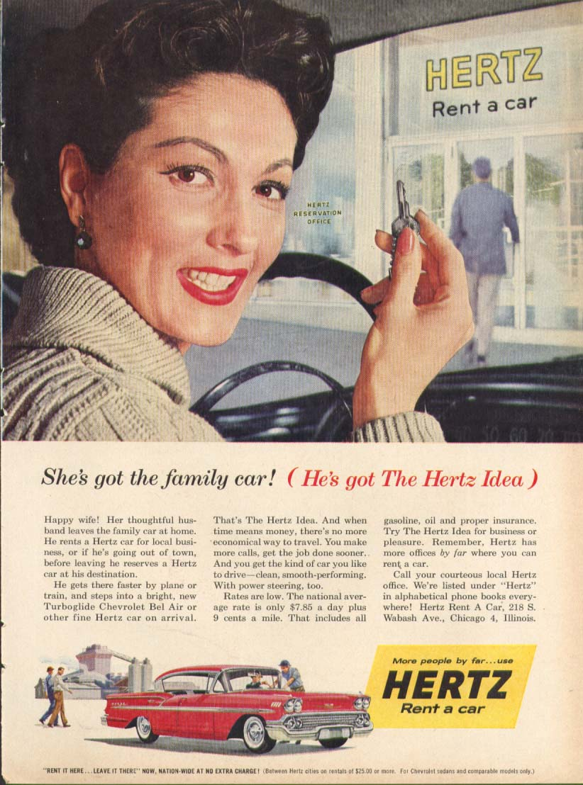 Chevrolet Bel Air Family Car Hertz Idea ad 1958 Time