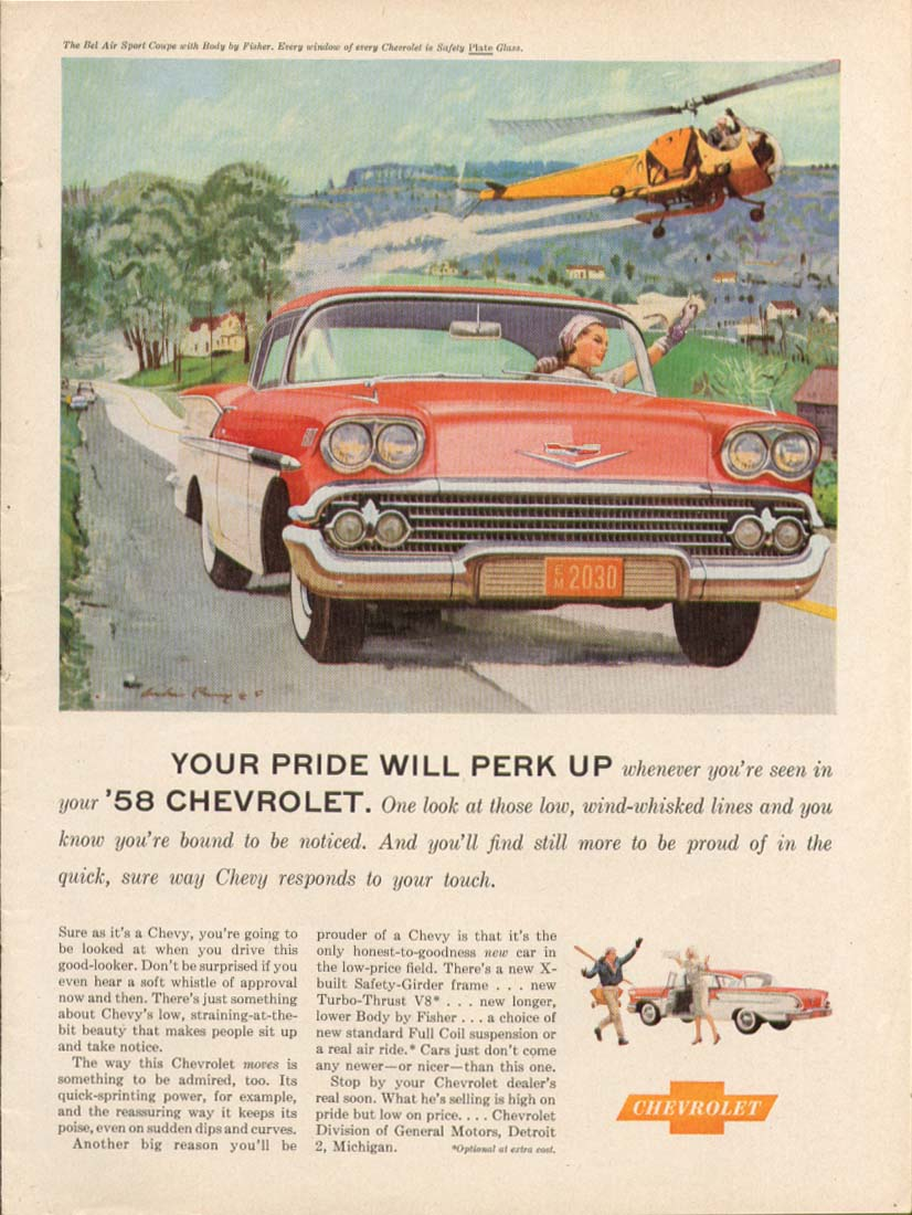 Chevrolet Bel Air Your Pride Will Perk Up ad 1958 Time