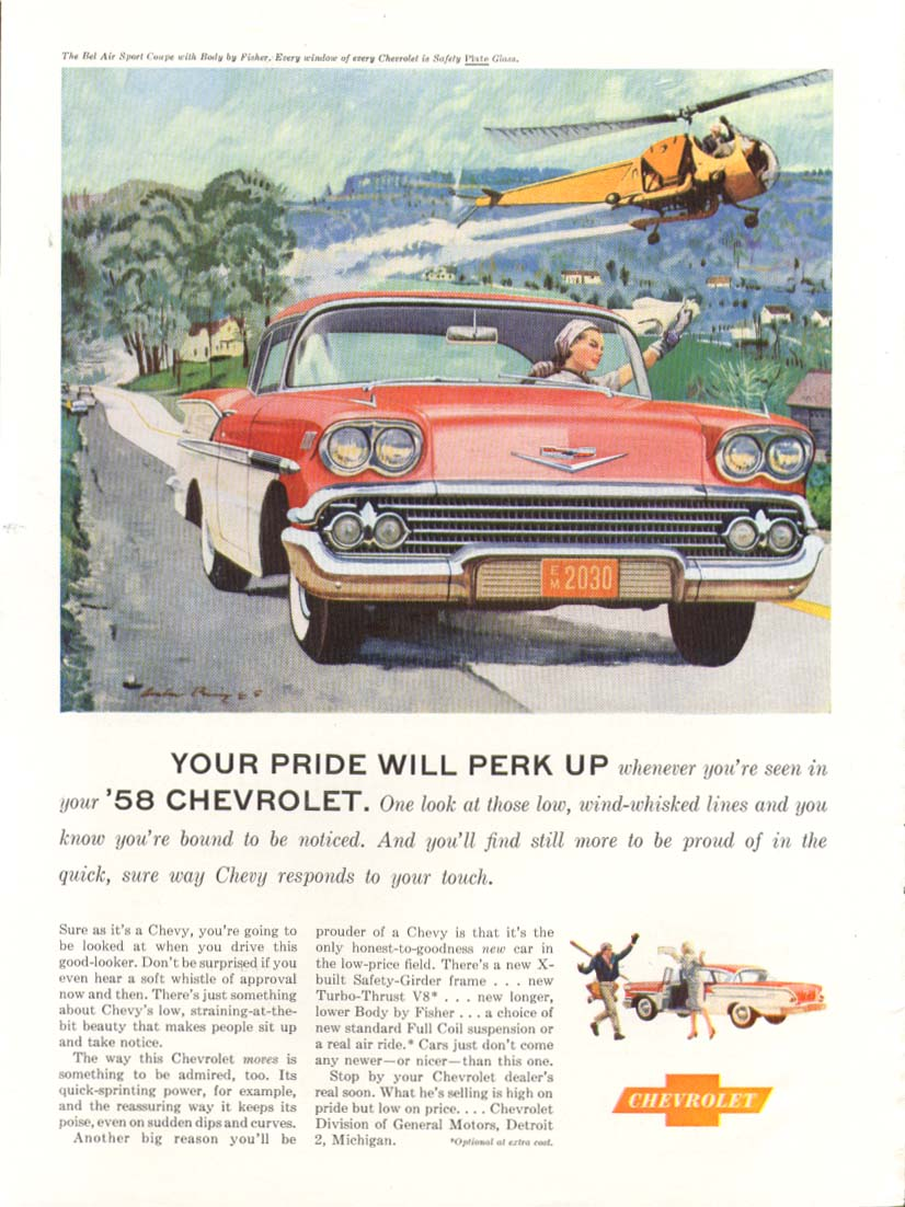 Chevrolet Bel Air Your Pride Will Perk Up ad 1958 Newsweek