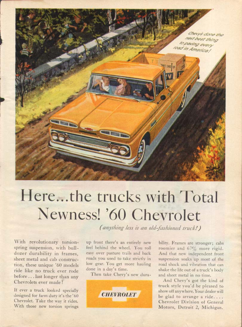 Here the trucks with Total Newness Chevrolet Pick-up ad 1960