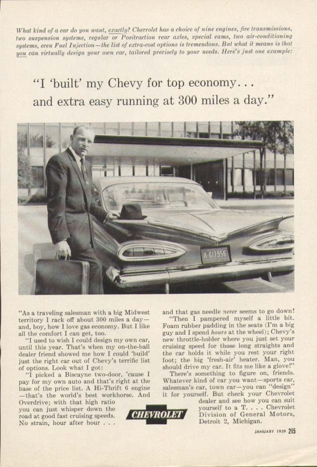 Chevrolet built for top economy ad 1959