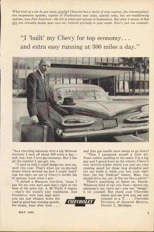 Chevrolet built for top economy ad 1959 Popular Mechanics