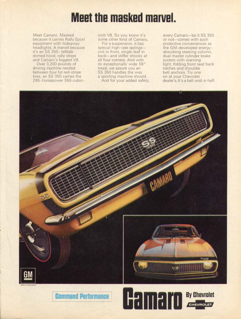 Image for Chevrolet Camaro Meet the masked marvel ad 1967