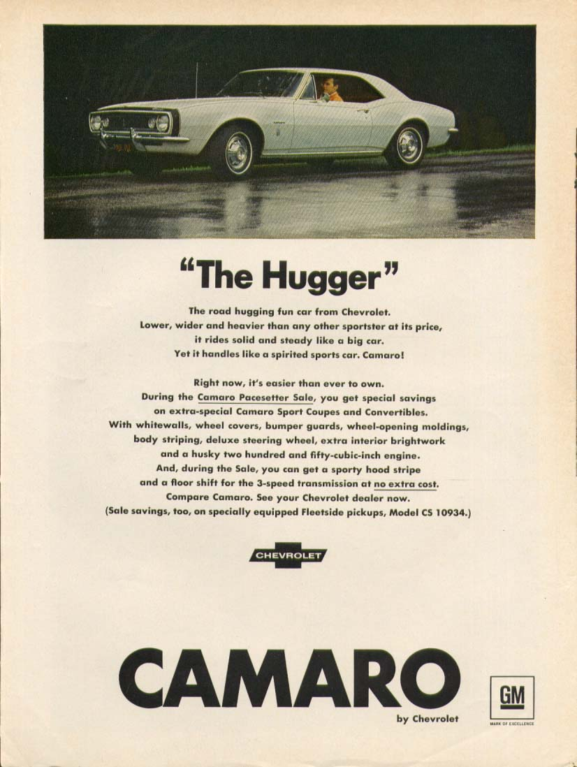 "Chevrolet Camaro ""The Hugger"" ad 1967"