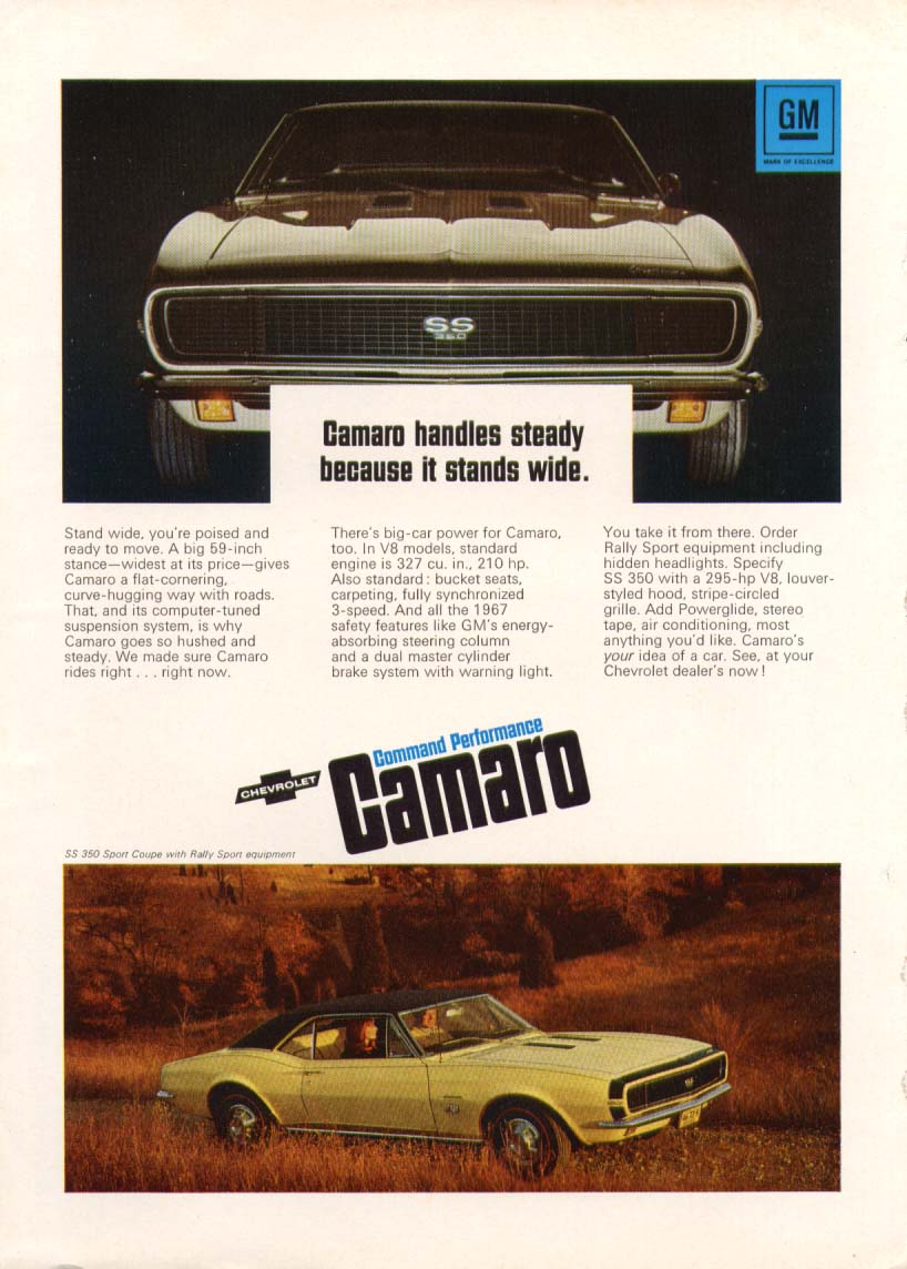 Image for Chevrolet Camaro SS handles steady stands wide ad 1967