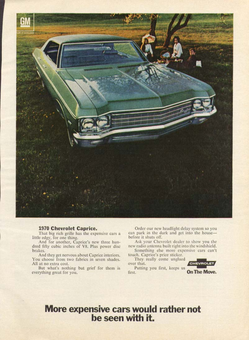 Chevrolet Caprice more expensive cars... ad 1970