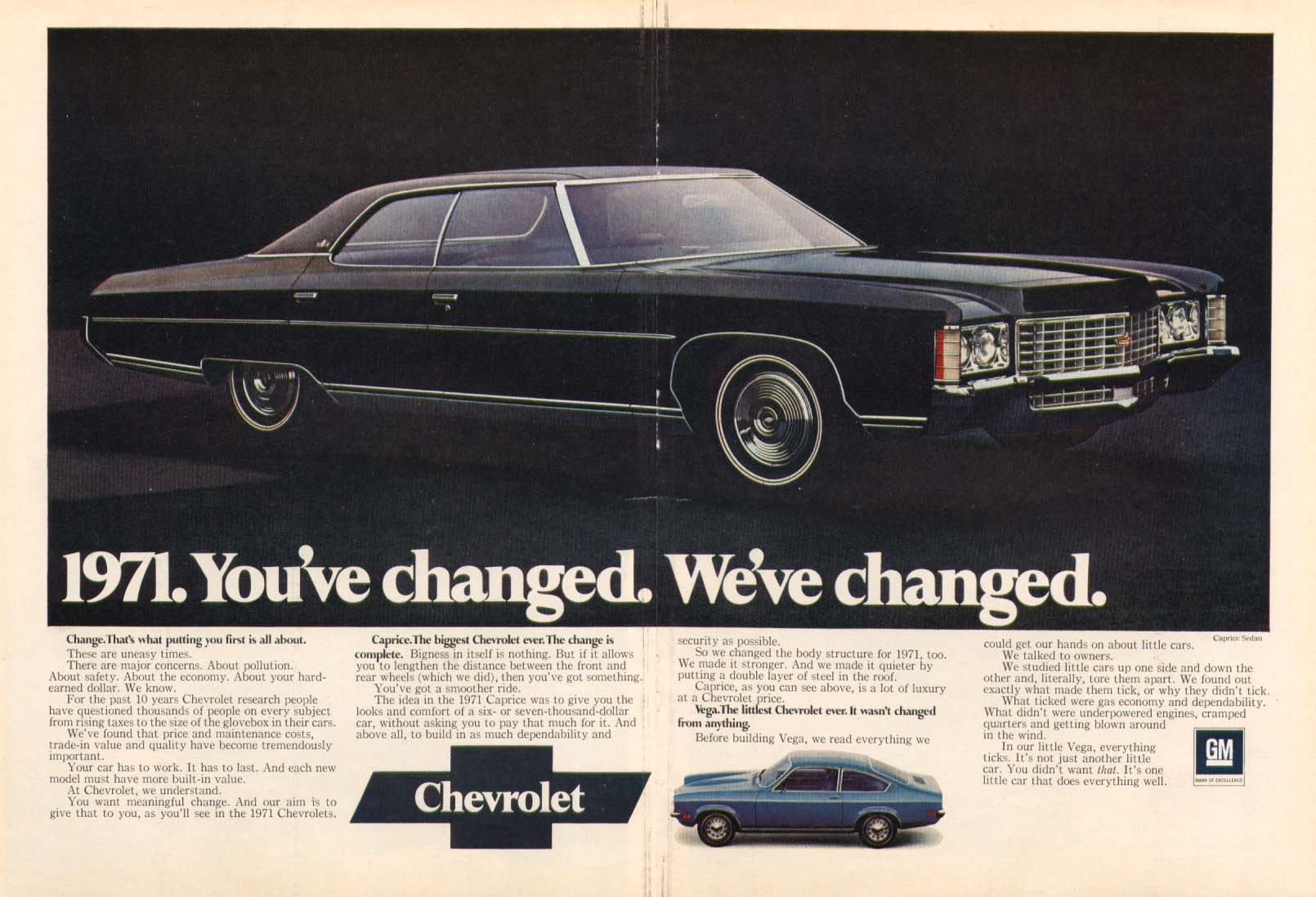 Chevrolet Caprice You've changed We've changed ad 1971