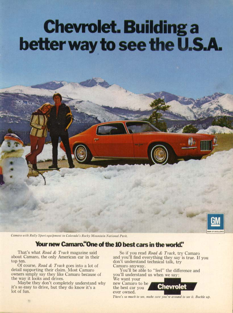 Chevrolet Camaro Building better way to see USA ad 1972