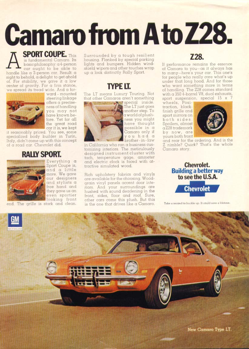 Image for Chevrolet Camaro from A to Z28 Type LT ad 1973