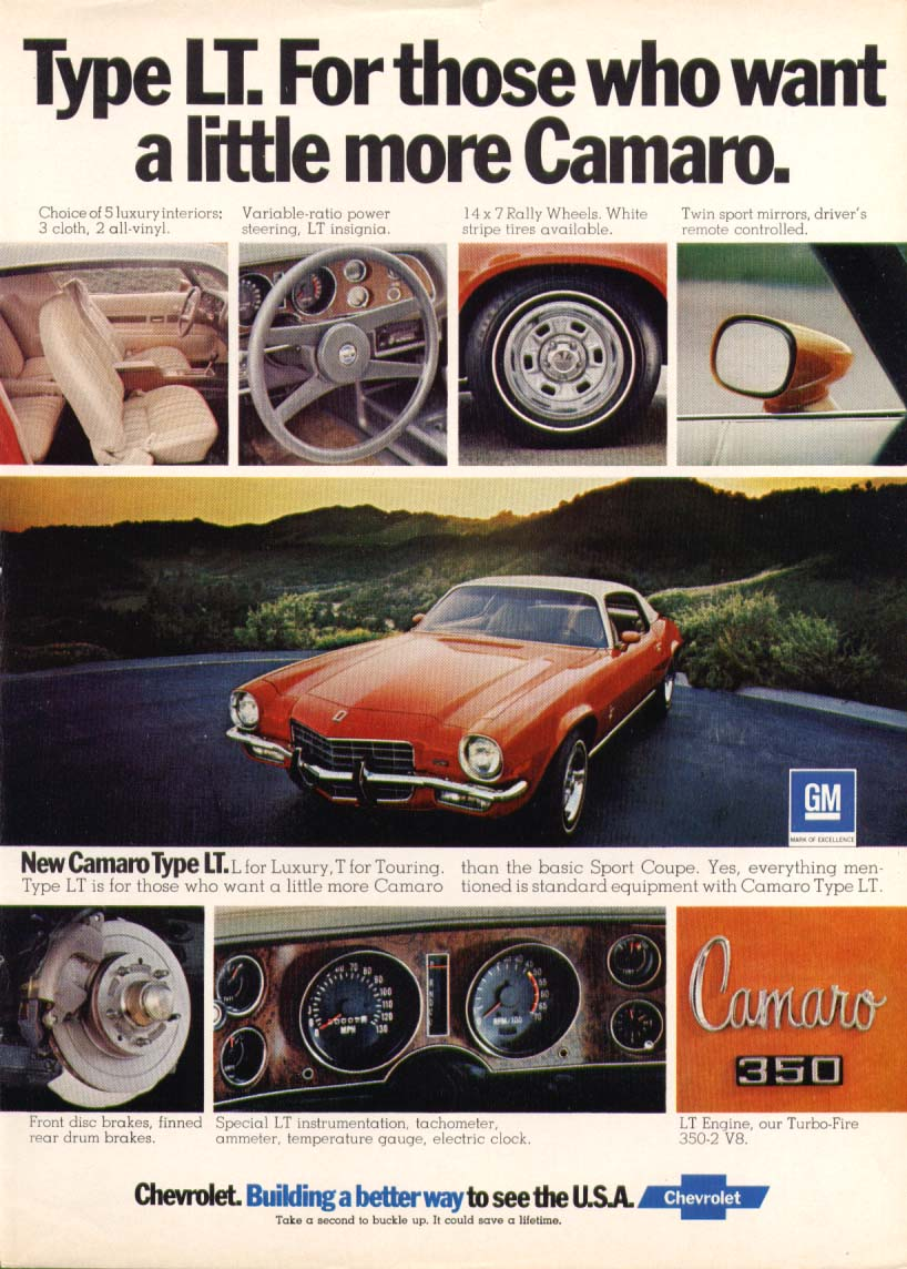 Image for Chevrolet Camaro Type LT a little more Camaro ad 1973