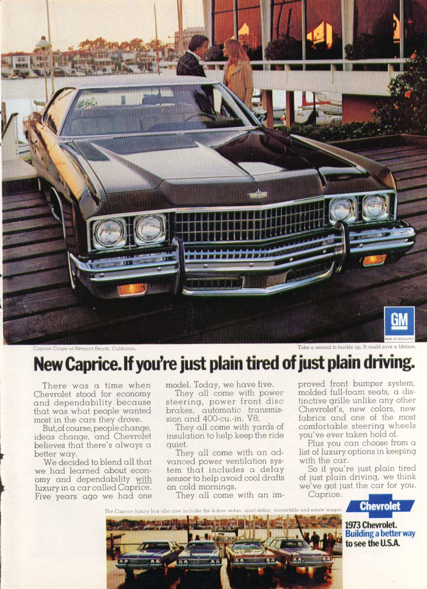 Chevrolet Caprice just plain tired of driving ad 1973