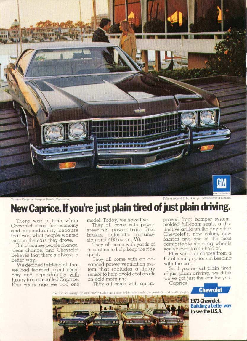 Chevrolet Caprice tired of just plain driving ad 1973