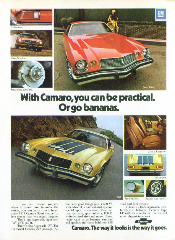 Image for Chevrolet Camaro Sport Coupe Z28 be practical or go bananas ad 1974