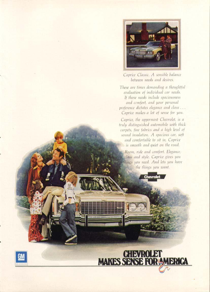 Chevrolet Caprice Classic Makes Sense ad 1974