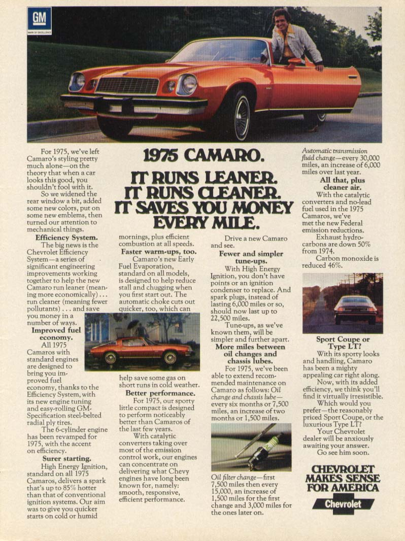 Image for Chevrolet Camaro runs leaner cleaner every mile ad 1975