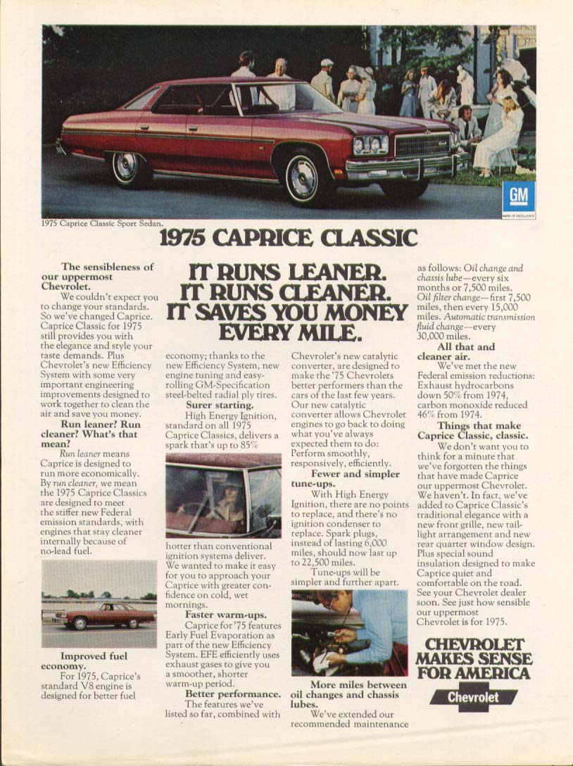 Chevrolet Caprice Classic Runs Leaner, Cleaner ad 1975