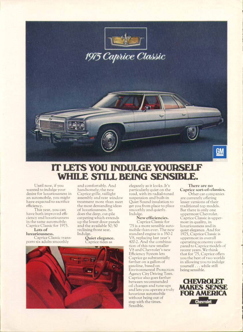 Chevrolet Caprice Classic Indulge Yourself ad 1975