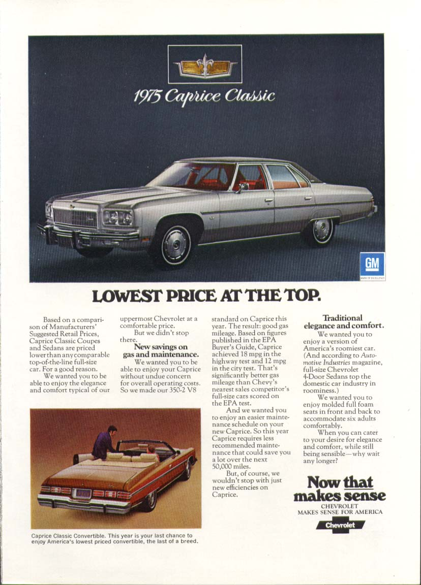 Chevrolet Caprice Classic Lowest Price at Top ad 1975