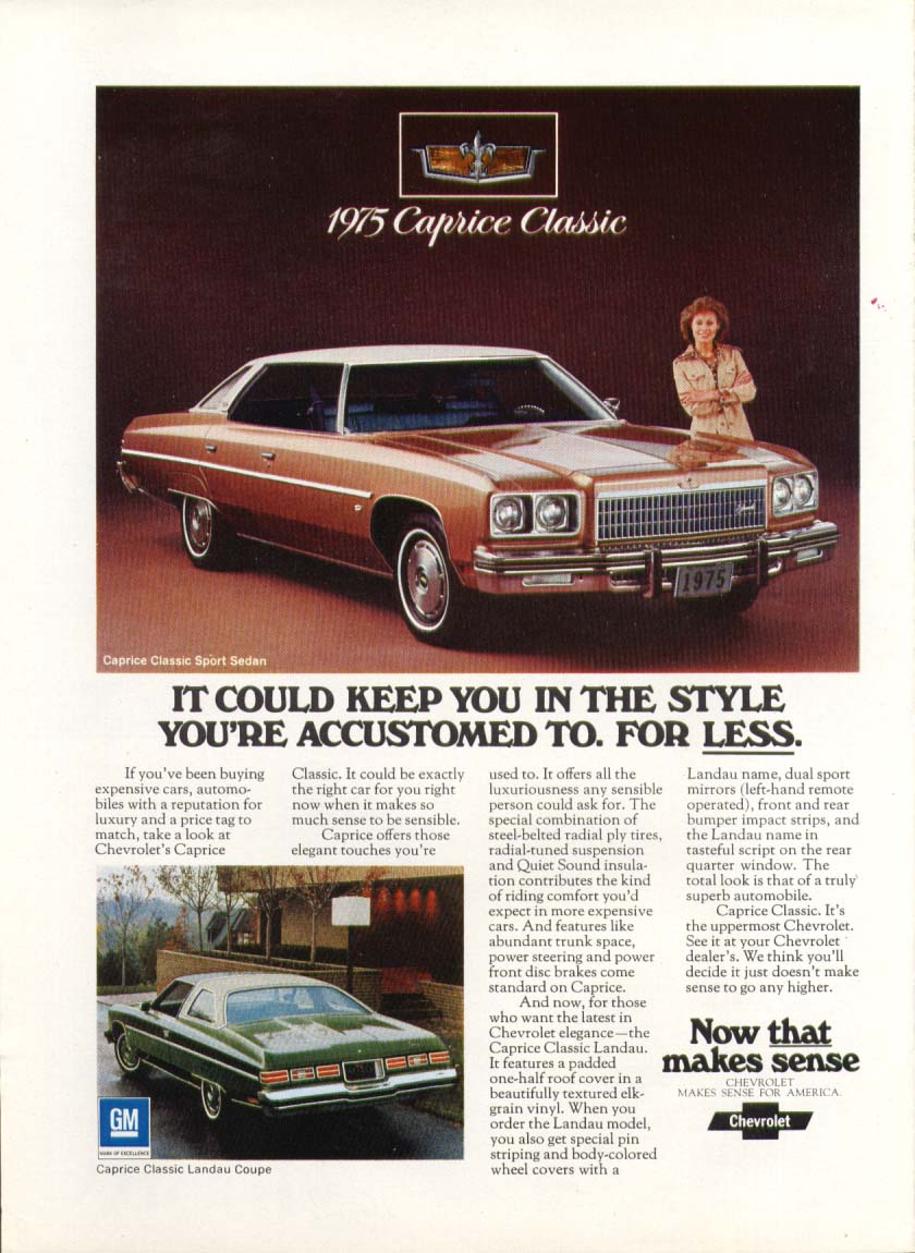Chevrolet Caprice Classic Accustomed to Style ad 1975