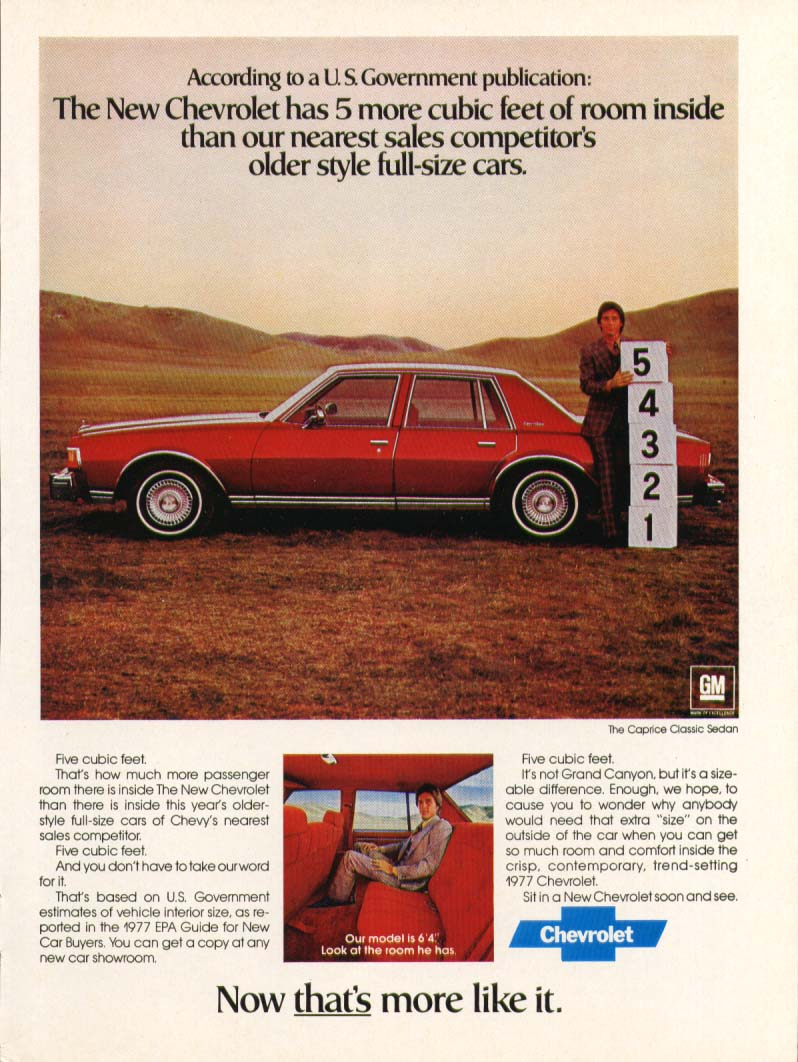 Chevrolet Caprice Classic more room inside ad 1977