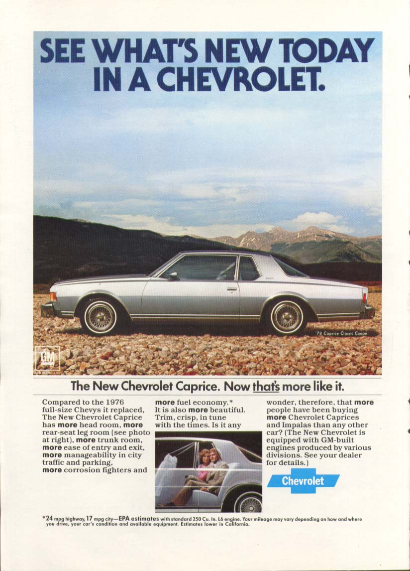 Chevrolet Caprice That's More Like It. Ad 1978