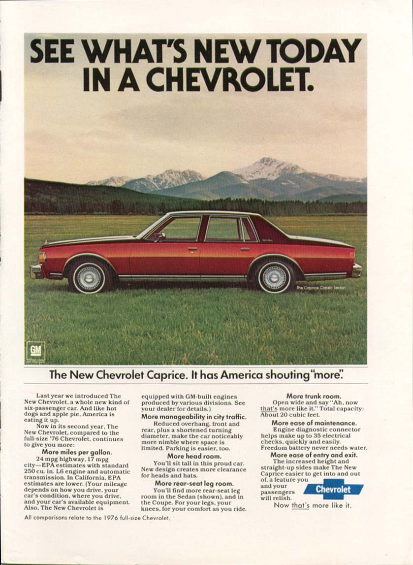 """Chevrolet Caprice has America shouting """"more"""" ad 1978"""