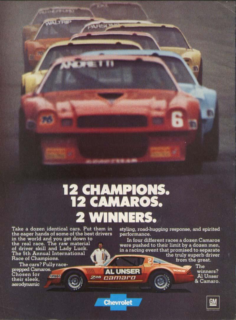 Chevrolet Camaro 12 Champions 2 Winners ad 1978