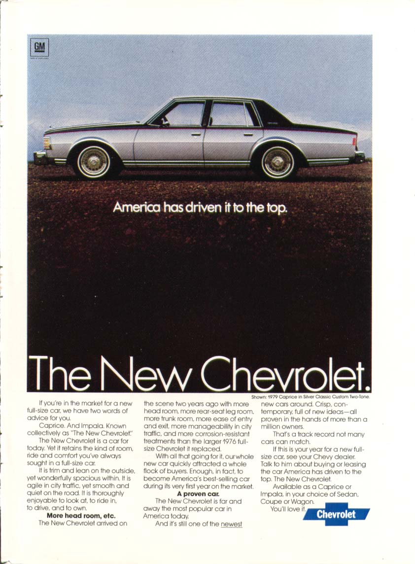 Chevrolet Caprice America has driven it to top ad 1979