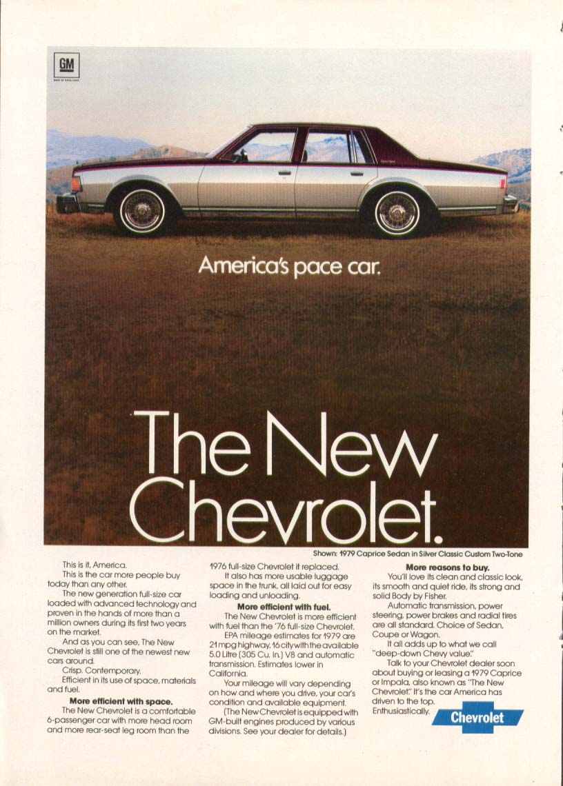 Chevrolet Caprice America's pace car ad 1979