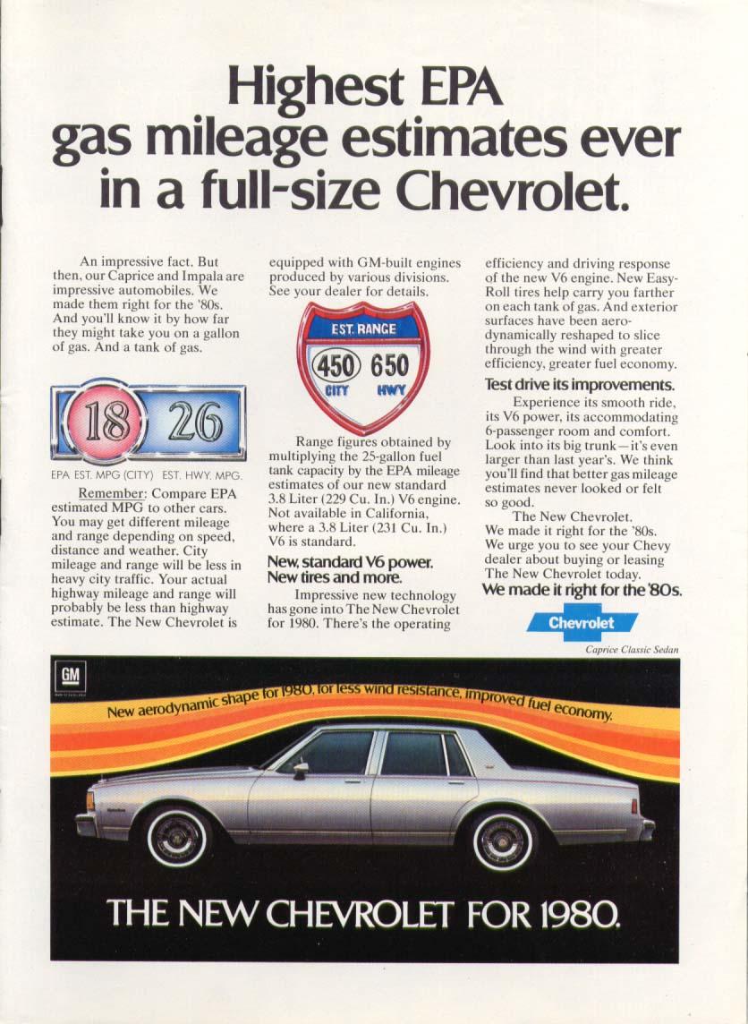 Chevrolet Caprice Classic Highest EPA estimates ad 1980