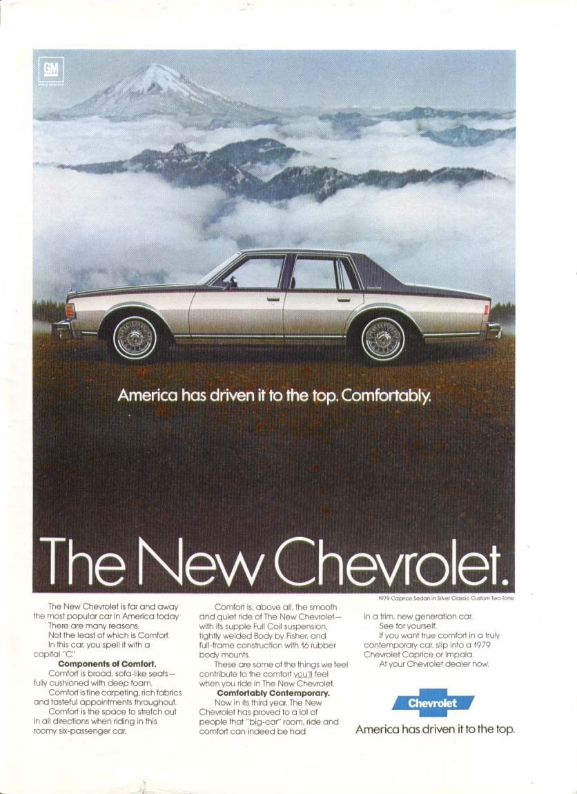 Chevrolet Caprice Driven Comfortably to the Top ad 1979