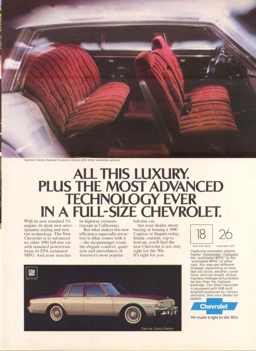 Chevrolet Caprice Classic Luxury Interior ad 1980