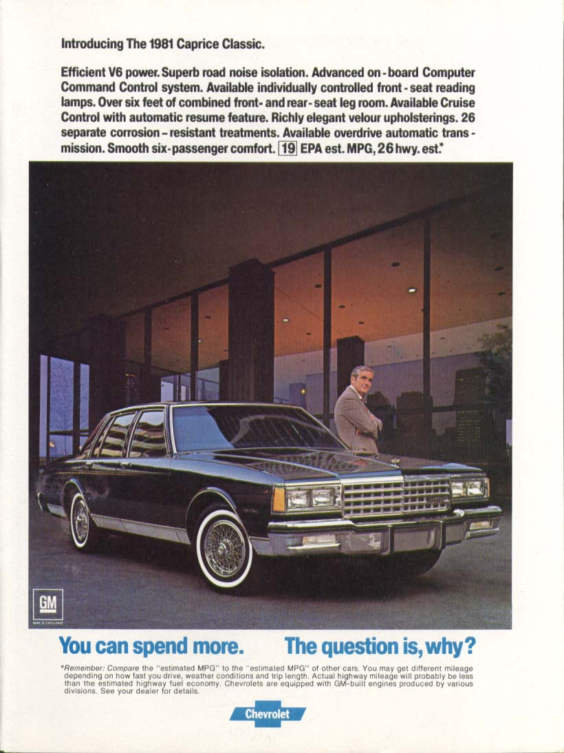 Chevrolet Caprice Classic Spend more… why? Ad 1981