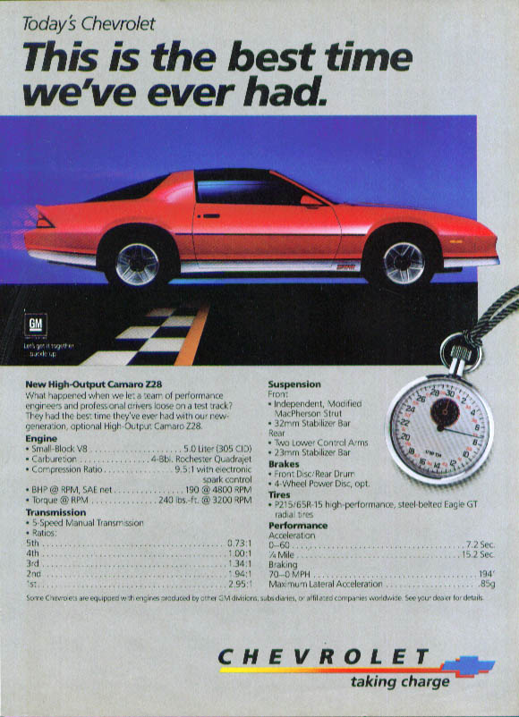 Chevrolet Camaro best time we've ever had ad 1984