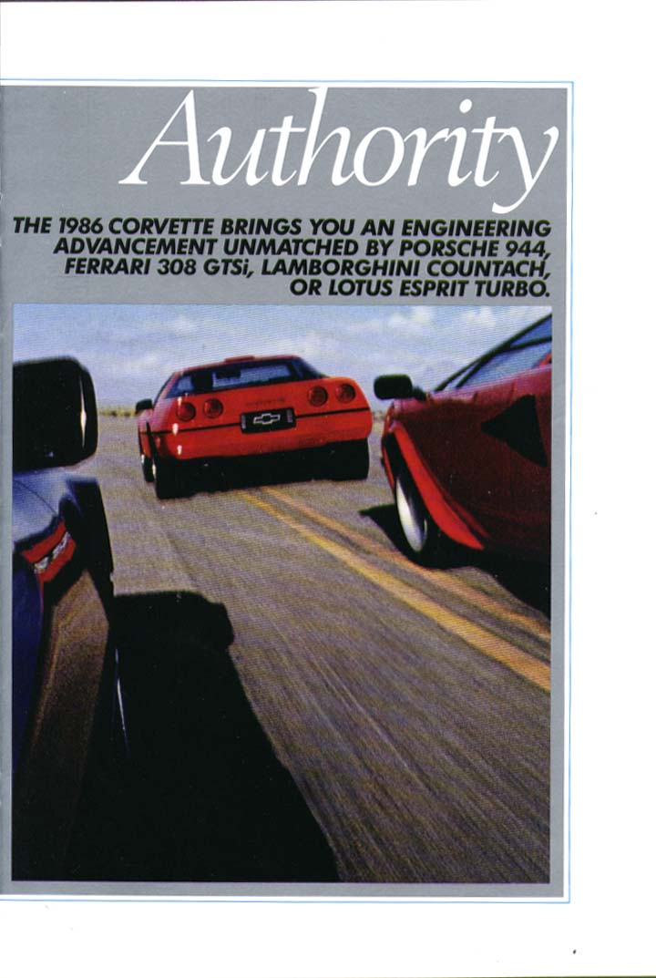 Authority Agility Artistry Corvette ad 1986 Signature