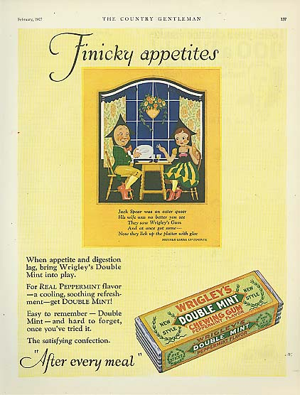 Image for Wrigley's Double Mint Gum Spear Man Jack Sprat ad 1927