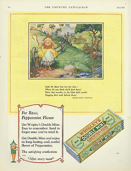 Image for Wrigley's Double Mint Gum Spear Man Bo Peep ad 1927