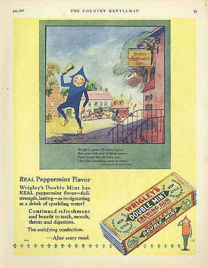Image for Wrigley's Double Mint Gum Spear Man bell ringer ad 1927
