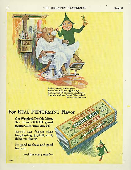 Image for Wrigley's Double Mint Gum Spear Man Shave a Pig ad 1927