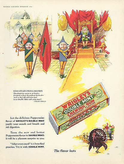 Image for Wrigley's Double Mint Gum Spear Man King ad 1928