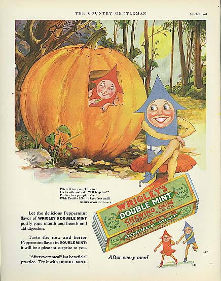 Image for Wrigley's Double Mint Gum Spear Man Pumpkin Eater 1928