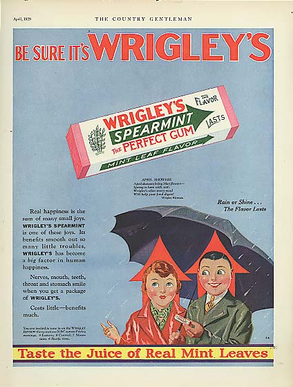 Be Sure it's Wrigley's Spearmint Gum Spear man ad 1929
