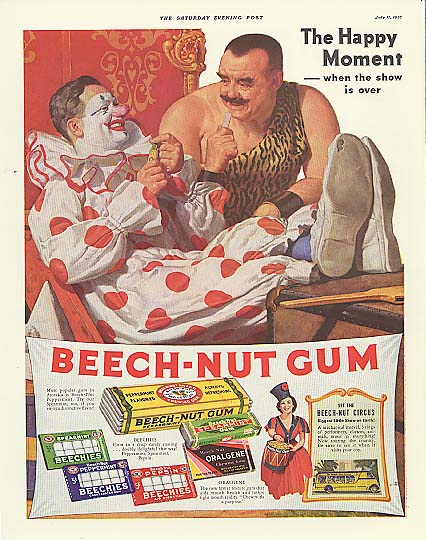 Image for Happy Moment Beech-Nut Gum circus ad 1937