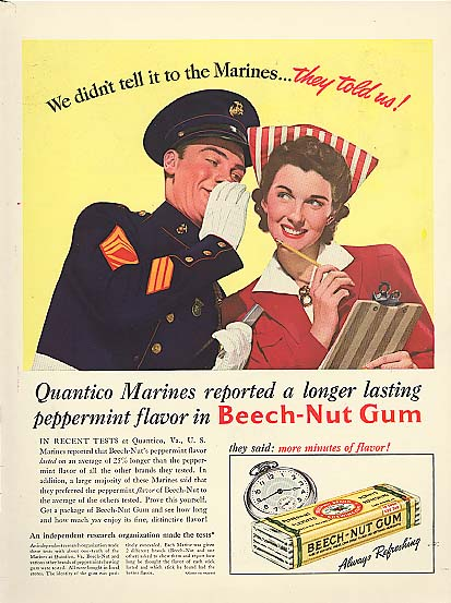 Image for Don't tell Marines they told us Beech-Nut Gum ad 1941