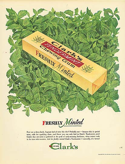 Image for Freshly Minted Clark's Tendermint Chewing Gum ad 1947