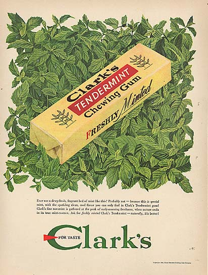 Image for Bed of Mint Clark's Tendermint Chewing Gum ad 1948