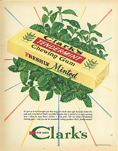Image for Tangy dew-fresh Clark's Tendermint Chewing Gum ad 1948