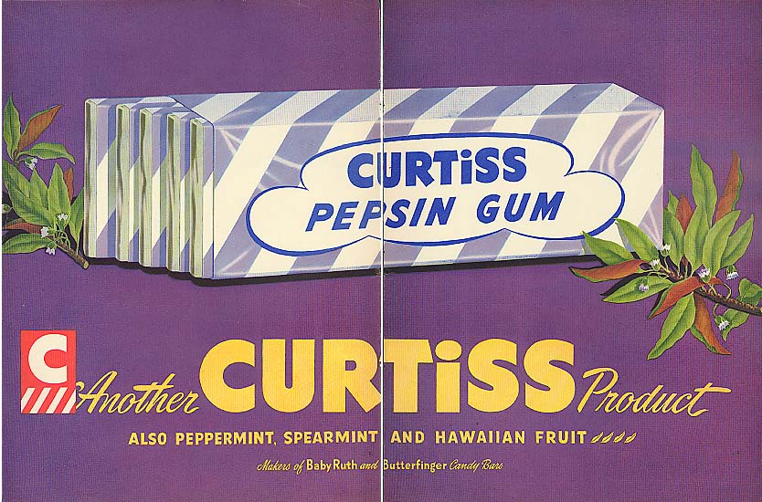 Image for Curtis Pepsin Chewing Gum 2-page color ad 1948