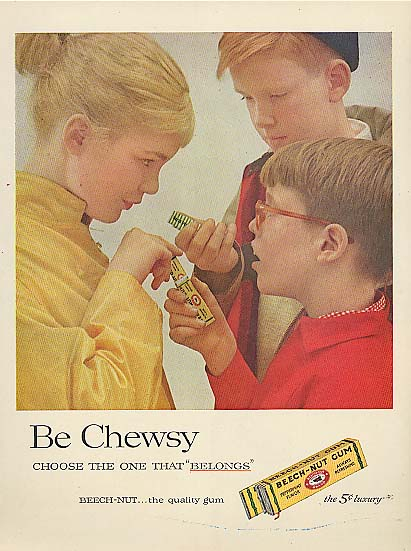 Be Chewsy Beech-Nut Gum girl & 2 boys ad 1957