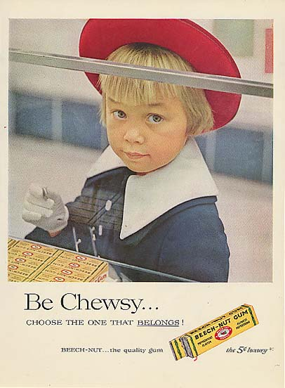 Be Chewsy Beech-Nut Gum little girl at counter ad 1957